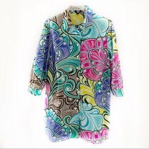 Dana Buchman Paisley 3/4 Sleeve Shirt Dress Size L